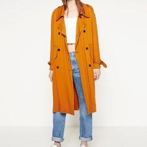 Zara Burnt Orange Trench Coat Size L